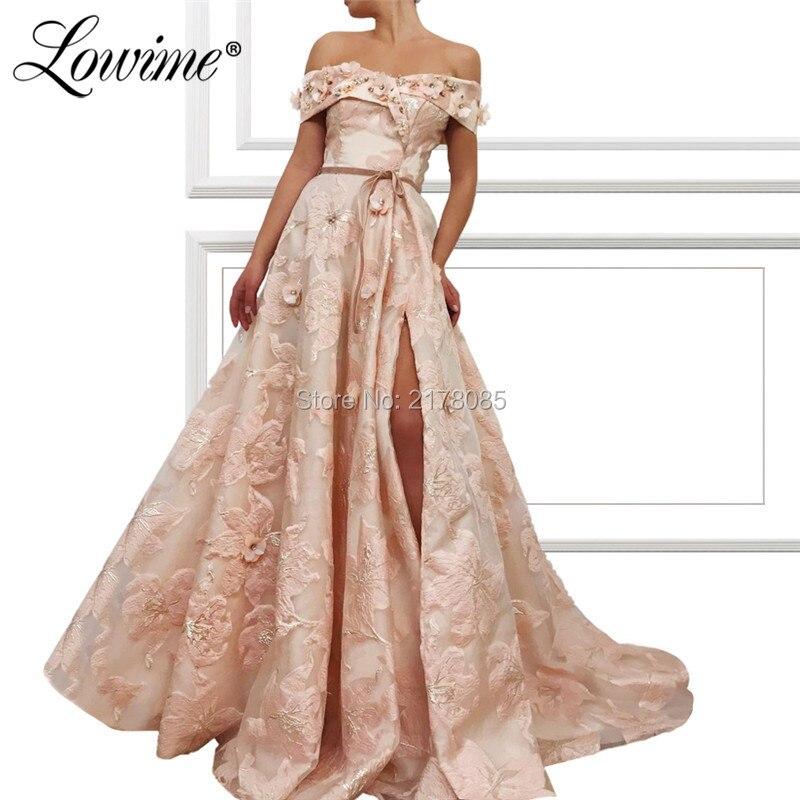 Pink Off The Shoulder   Prom     Dresses   2019 New Custom Vestido De Festa Arabic Dubai Party Gown Beaded Handmade Flower Evening   Dress
