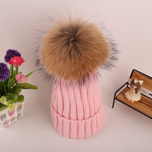 Nuevas Mujeres Pompón Beanie Sombreros de Piel de Mapache Pompones de Piel  bola de 16- 05d0b2be6fc