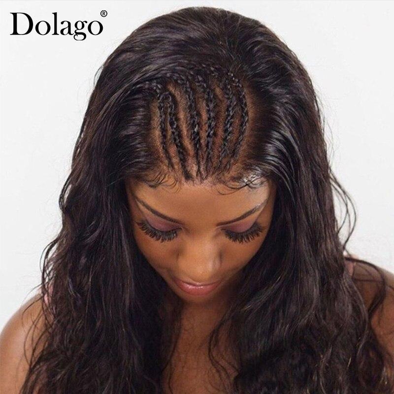 Full Lace натуральные волосы парики для Для женщин натуральный черный 130% плотность Бразильский объемной волны парик предварительно сорвал с во...