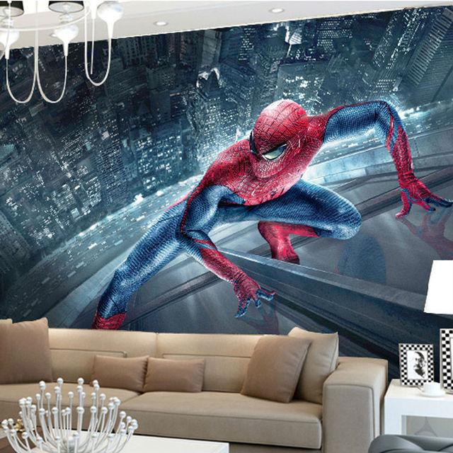 Superhero Wall Murals aliexpress : buy marvel spiderman kids boys children photo