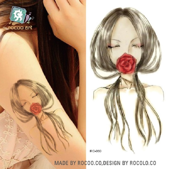 2pcs/lots Green Tattoo Stickers Personalized Fashion Sketch Girls Tattoo Tattoo Stickers Can Be Customized RC-030