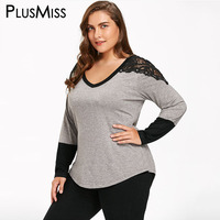 Plus Size 5XL Sexy Lace Crochet Shoulder Blouse Shirt Women Long Sleeve Autumn Fall 2017 Oversized
