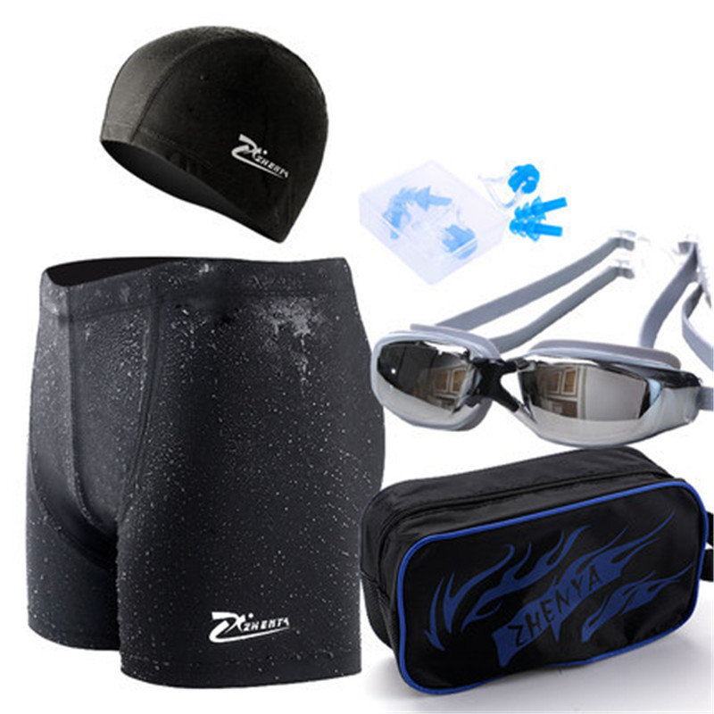 Fanceey Men Swimwear Short Cap-Ear-Plugs Swimming-Goggles with Nose-Clip Sexy