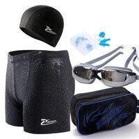 Zhenya men swimming trunks swimming suit short shark Pippin angular speed dry trunks waterproof goggles cap package plating