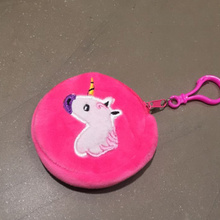 Super Kawaii 8CM Approx. Gift Unicorn Key Hook Plush Stuffed Coin Purse BAG Toys Dolls