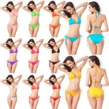 Купить с кэшбэком Fashion Swimwear Bikini Sexy Women Swimwear Set Solid Color Classic Bikini Beach Swimsuit Push Up Swimsuit Bathing Beachwear