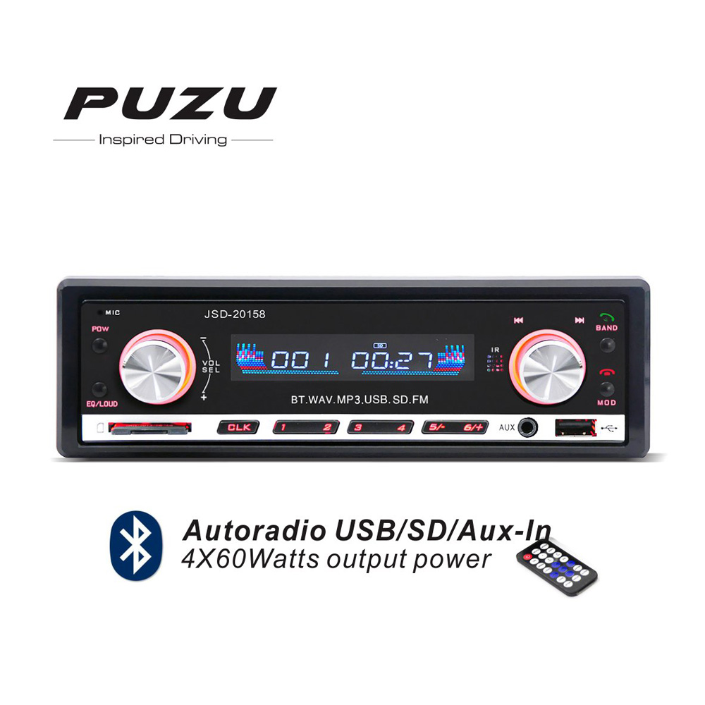 Red color 1din 12V bluetooth Car Radio MP3 FM receiver USB SD tape recorder with remote controller USB SD aux in port