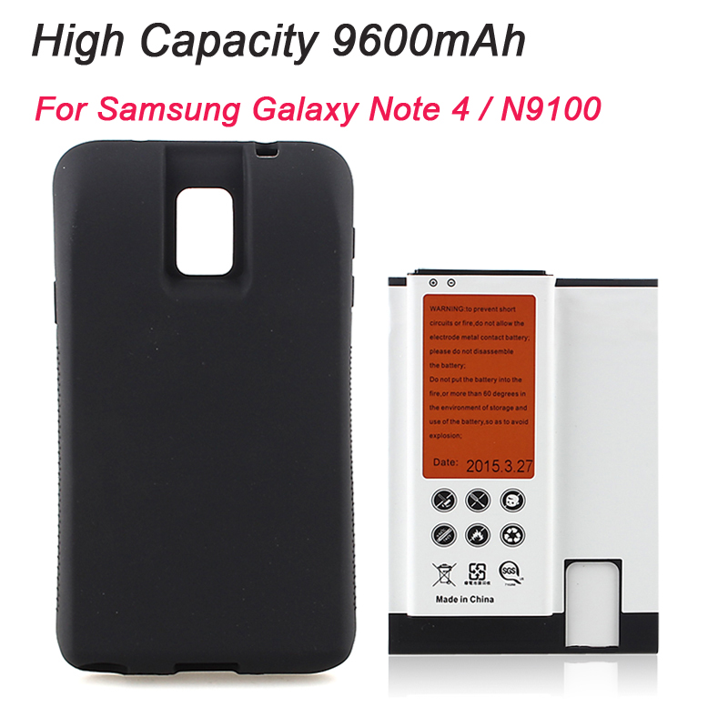 High Capacity Extended 9600mAh NFC Replacement <font><b>Battery</b></font> + Black Back Case Cover For <font><b>Samsung</b></font> Galaxy <font><b>Note</b></font> <font><b>4</b></font> N9100, Free Shipping