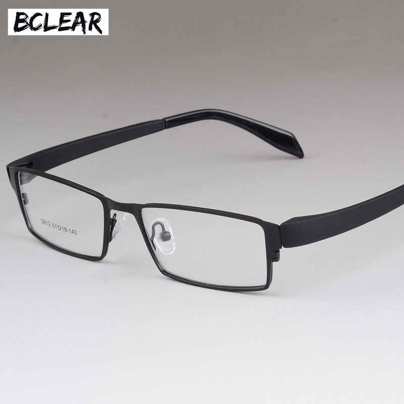 BCLEAR Men Titanium Alloy Eyeglasses Frames Flexible Temples Legs IP Electroplating Alloy Material Full Frame Spectacle Eyewear