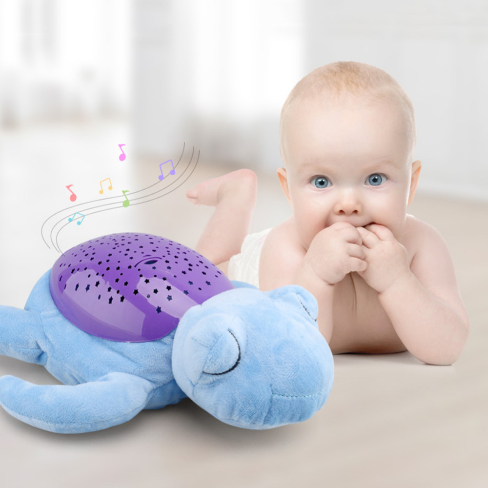 все цены на New Creative Turtle LED Night Light Luminous Plush Toys Soothing Calming Baby Toy Music Star Lamp Projector Toys for Baby Sleep