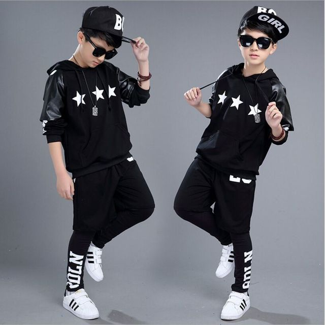 3 Piece /Set Child Costumes Hip Hop Clothing sets Boy Girls Dancing Sets Long-Sleeve Hooded Cotton Spring Autumn