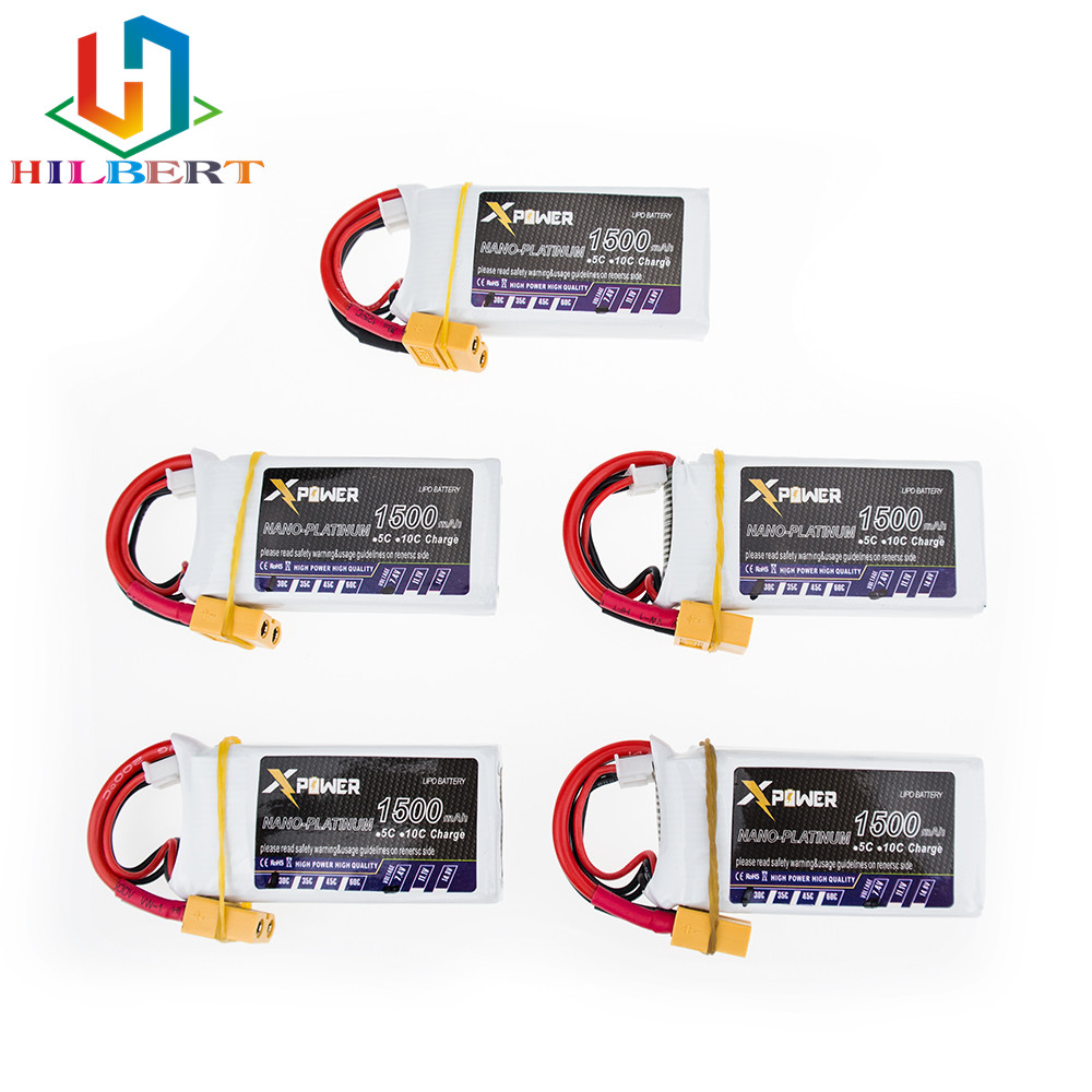 5pcs 7 4V 1500mAh 2s lipo battery 30C max 35C Xpower batteries XT60 T plug for