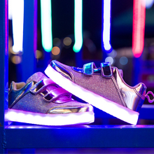 17 Baby Fashion Hook Loop Led Shoes Kids Light Up Glowing Sneakers Children USB Charger Shoes with Light Boys Girls Toddler Boot