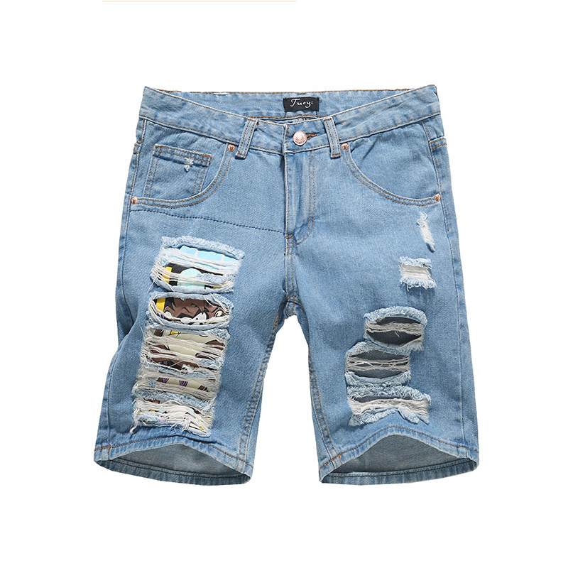 Male Hole Beggar Big Cultivate Cowboy Direct Sale Lightweight Shorts Plaid Animal Men Dsq Short Jeans 2018 New Arrival Homme