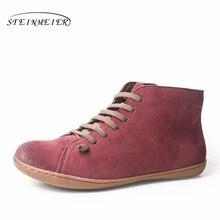 f2beb126 Женские зимние ботинки из натуральной кожи, весенние ботильоны на плоской  подошве, женские короткие коричневые