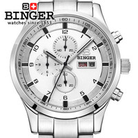 fashion 2017 brand Binger top quality luxury Wholesale Retail CHRONOGRAPH Watch Original box Certificate Wrist Watches White
