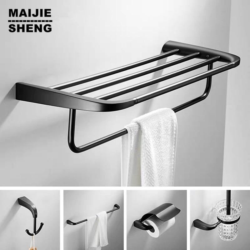 Matte black bathroom shelf 5pecs kit black towel shelf brush holder single towel bar black bathroom accessory