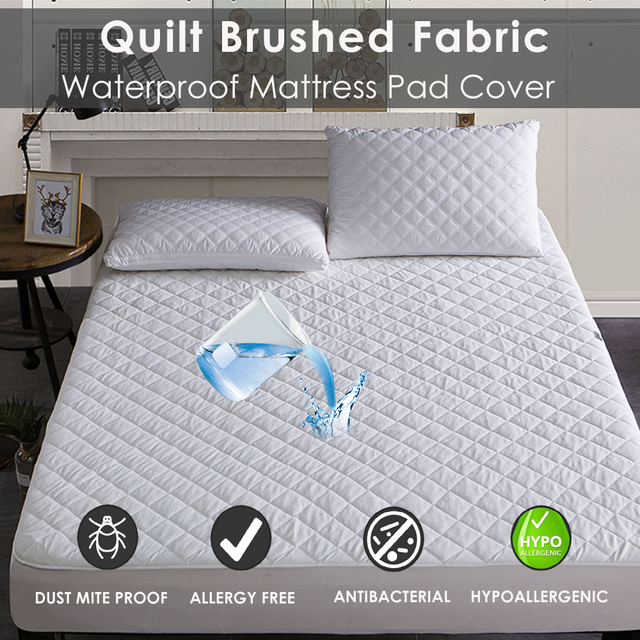 Lfh Queen Size Quilted Mattress Pad Waterproof Cover Bed Topper Washable Protector Sheet
