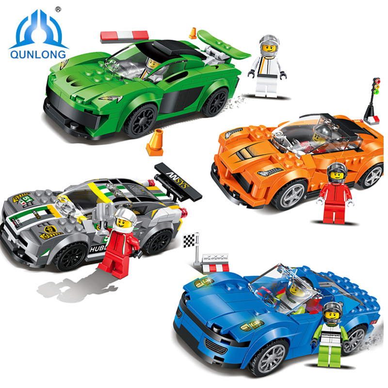 Qunlong 4pcs/set Speed Racing Cars Building Blocks Compatible Legos City Action Figures Enlighten Bricks Toys For Children Gift minecrafted building blocks toys bricks figures compatible legos minecraft friends city toys birthday gift for kids gift toys