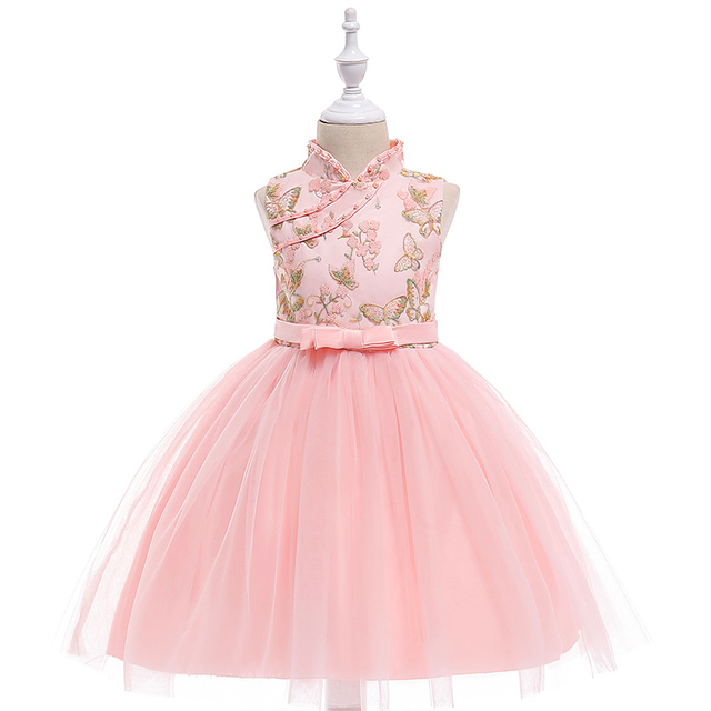 b116187a811 Retail Children Girl Summer Dresses With Butterfly Embroidery Chinese Style  Kids Girl Party Dress Girl Wedding Dress L5019