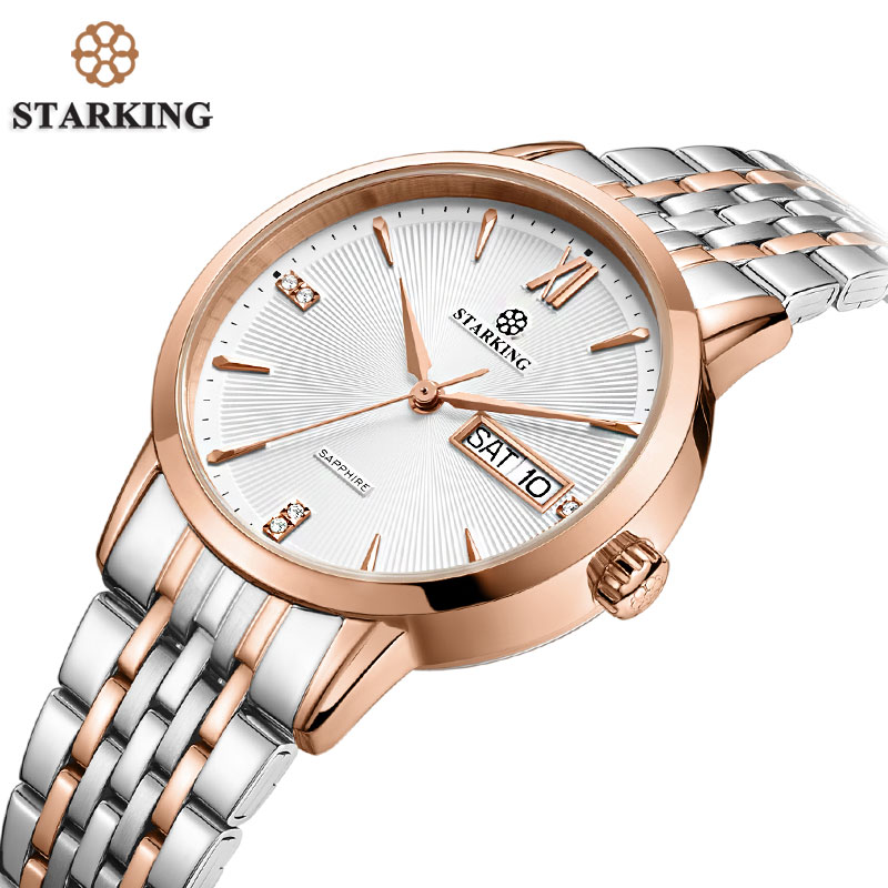 STARKING Top Brand Stainless Steel Bracelet Watch Women Luxury Quartz Auto Date Dress Ladies Watch 3ATM Waterproof Wristwatches