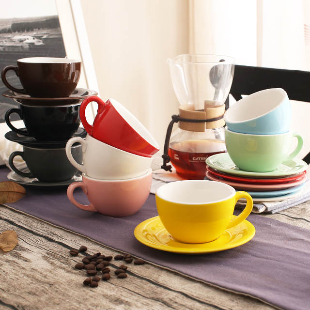200 Ml Colorful Thick Body New Bone China Cuccino Cups And Saucers Ceramic Coffee Cup