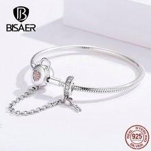 Bisaer 925 prata esterlina coração forma bloqueio fecho segurança corrente femme prata pulseiras para mulheres luxo jóias pulseira ecb143