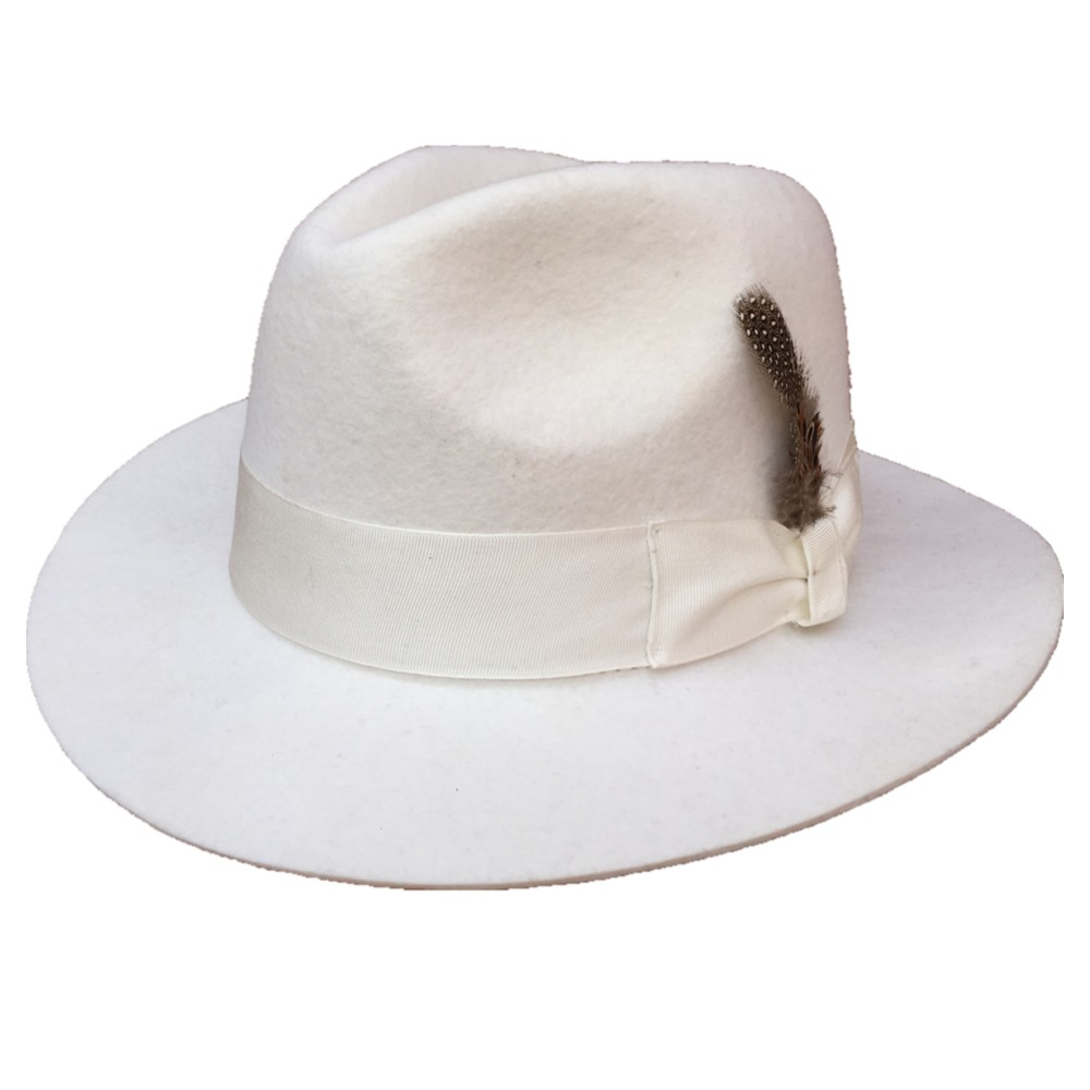 Classic White Men s Wool Felt Fedora Hat Godfather Hat American Style