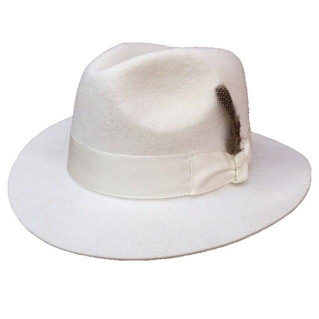 4049e612dd0e2 Classic White Men  s Wool Felt Fedora Hat Godfather Hat -American Style