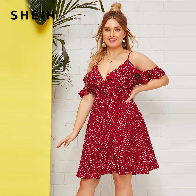 SHEIN Plus Size Ruffle Cold Shoulder Confetti Heart Print A Line Dress 2019 Women Summer Boho Fit and Flare High Waist Dresses 1
