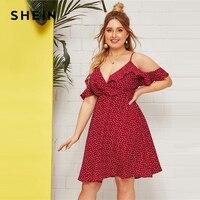 a2d273fa78 SHEIN Plus Size Ruffle Cold Shoulder Confetti Heart Print A Line Dress 2019  Women Summer Boho
