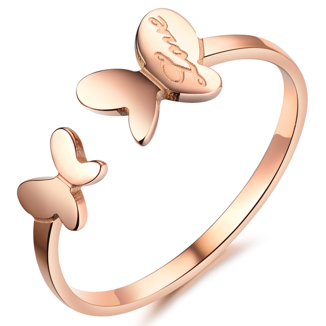 Rose Gold Color Stainless Steel Couple Dancing Butterfly Lovers Cute