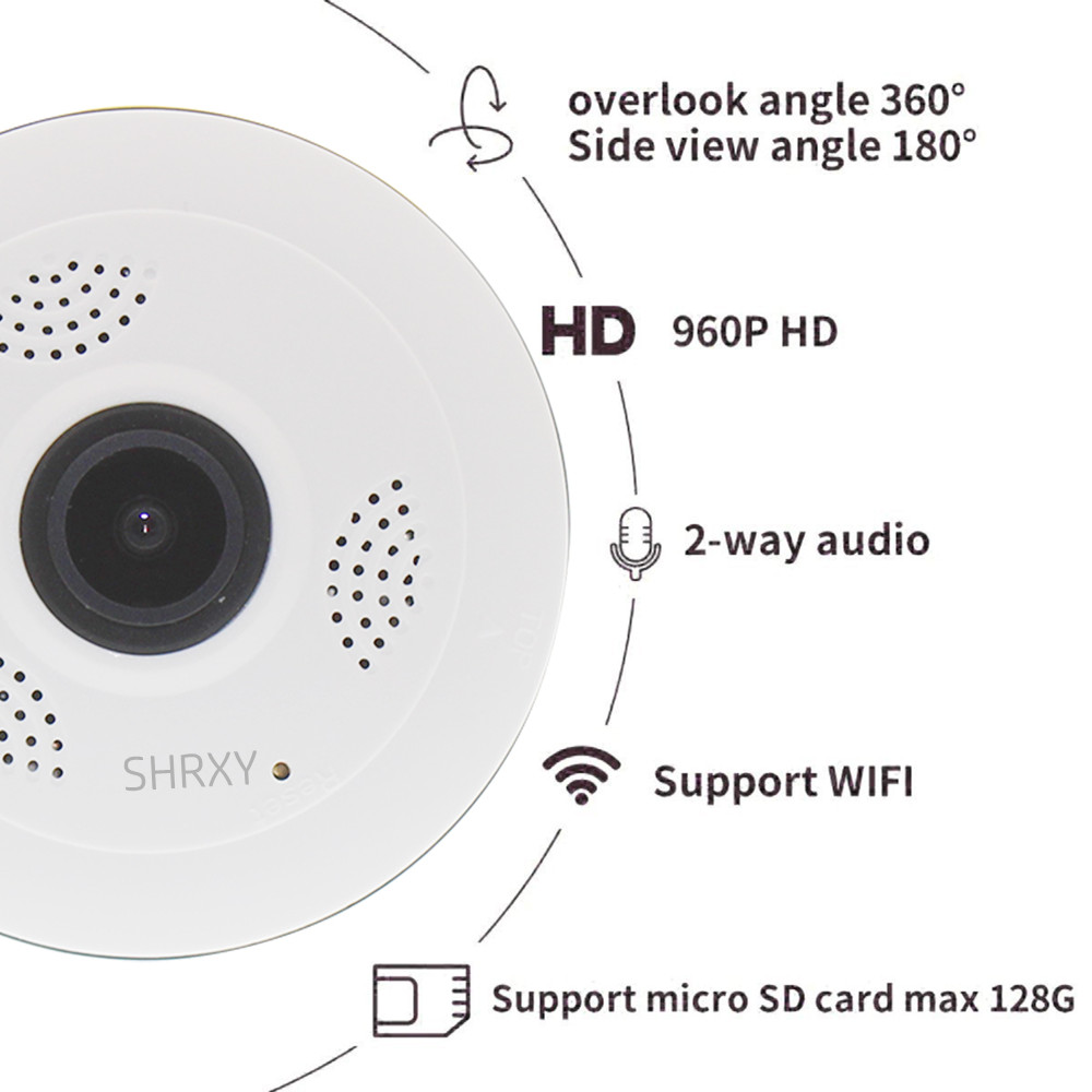 360 Degree Panoramic Wide Angle MINI Cctv Camera V380 Smart IP Camera Wireless Fisheye Lens 1080P Security Home Wifi IP Camera