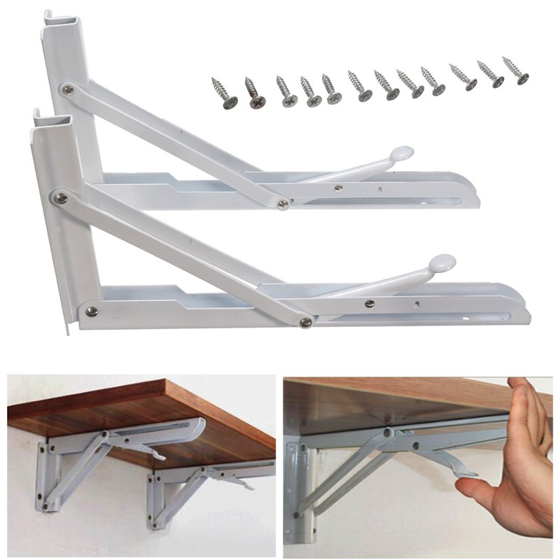 MTGATHER 2Pcs Folding Bracket Triangular Metal Release Catch Support Bench Table Folding Shelf Bracket 150x300mm triangular folding bracket thickened word separator shelf bookcase compartment set top box spring iron support frame 14 inch