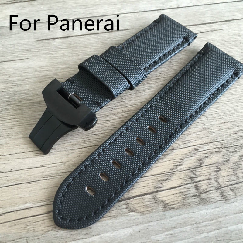 26mm Vintage Black Canvas Nylon Watchband Strap Bracelet With Black Silver Butterfly Buckle Clasp For PAM Watch With Logo цены в интернет-магазинах