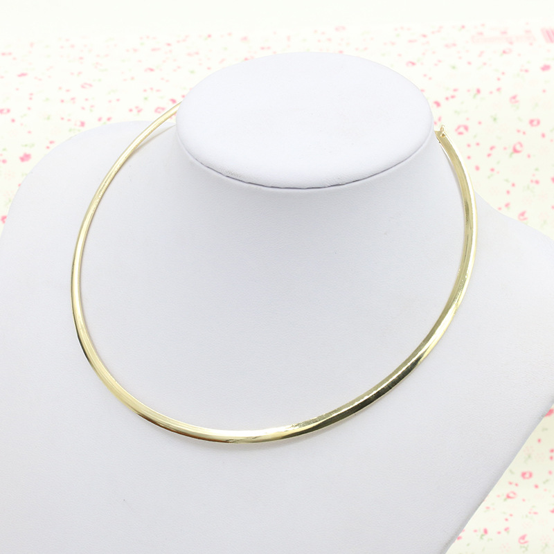 Jewelry Simple Round Circle Alloy Torques for Women Wire Necklace Hot Sale 2019