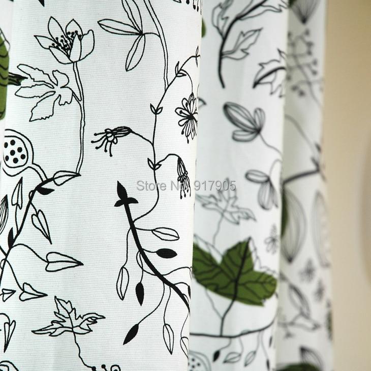 Elegant Green Leaf Print Curtains For