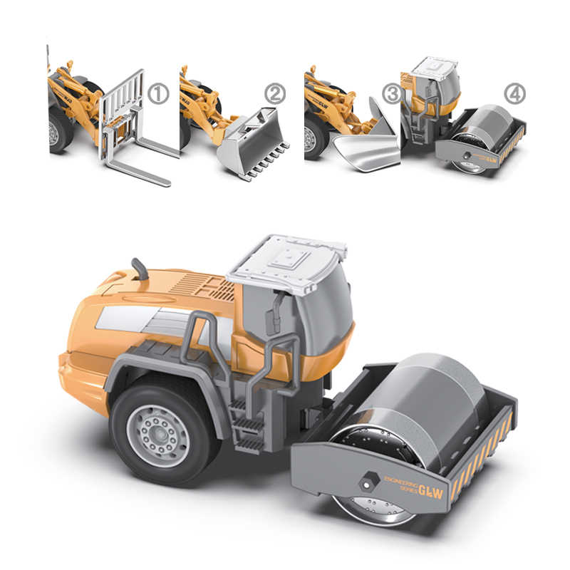 Engineering Road Roller Bulldozer Model Car Forklift Truck Shovel Loader 1:55 Toys Gift Alloy Head Can Exchanged For Kid 1 Set