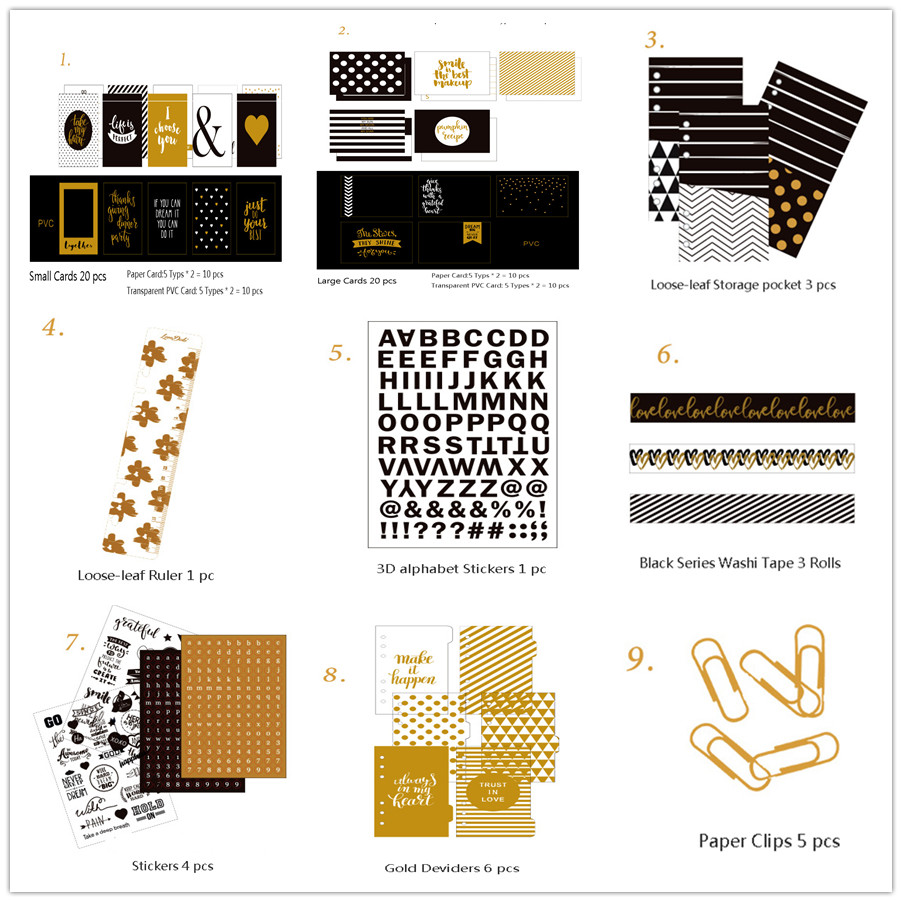 Dokibook Black Series Stationery Sets For Filofax Spiral Planner A6a5 Midori Traveler's Notebook Kids Day Planner Accessories midori midori a promise of love