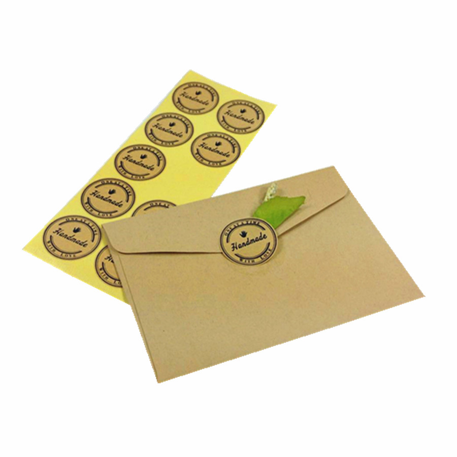 100Pcs lot NEW Handmade With Love Vintage Kraft Paper Stickers DIY Label For Gift Packaging Baking Sealing Sticker supplies in Stationery Stickers from Office School Supplies