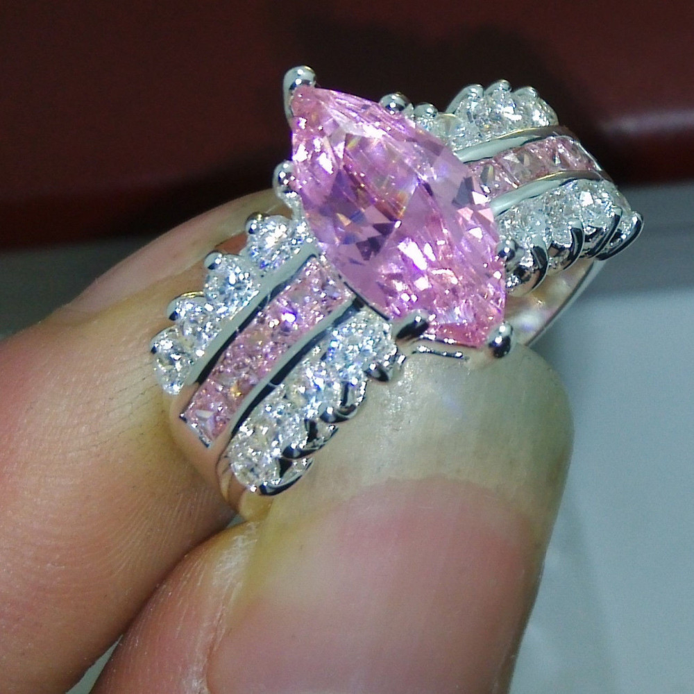 pink diamond engagement ring pink diamond wedding band Pear Pink Diamond Ring