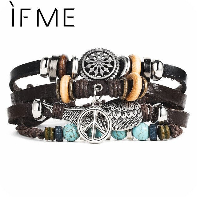 IF ME New Vintage Wing Leather Bracelet For Men Woman Fashion Black Color Multiple Braided Bracelets Jewelry Gift Wholesale