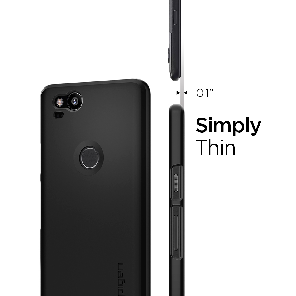 size 40 f7f90 6fe5e US $16.99 |100% Original SPIGEN Google Pixel 2 Case Thin Fit Hard Back  Cover Black F16CS22277-in Half-wrapped Case from Cellphones & ...