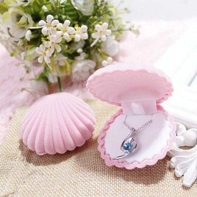 Moda Shell Forma de Exibição de Jóias Caso Caixa De Presente para Colar Anel Brincos atacado