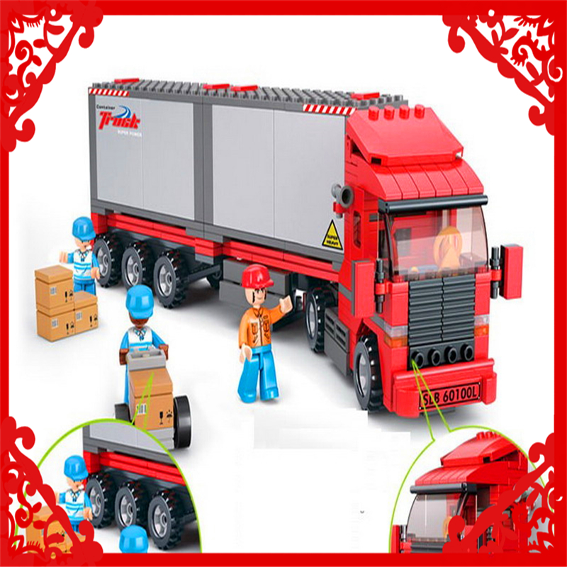 SLUBAN 0338 Cargo Truck Vehicle Building Block 345Pcs DIY Educational  Toys For Children Compatible Legoe decool 3114 city creator 3in1 vehicle transporter building block 264pcs diy educational toys for children compatible legoe