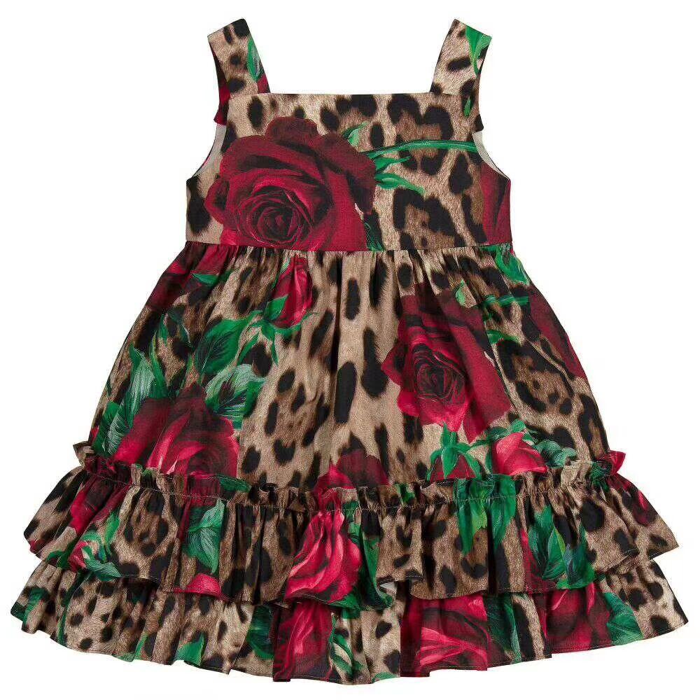 2019 in stock 90-150 newest brand New Girl Leopard Vest flower Dress Children Kids spring summer Dresses