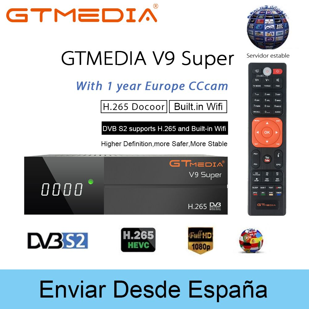 Gtmedia V9 Super Satelite Receptor DVB S2 Receiver Cccam Cline for 1 Year Spain H.265 1080P Satellite TV Receiver Built in Wifi-in Satellite TV Receiver from Consumer Electronics