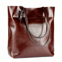 Large Tote Bag Leather Genuine Women Top Handle handbag Vintage Women Bag Shoulder Genuine Leather Work Bag Women Luxury Brand