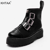 Women Buckle Strap Platform Patent Punk Shoes Autumn Ankle Boots Female Zip Motorcycle Boot Ladies Thick Boots Fashion