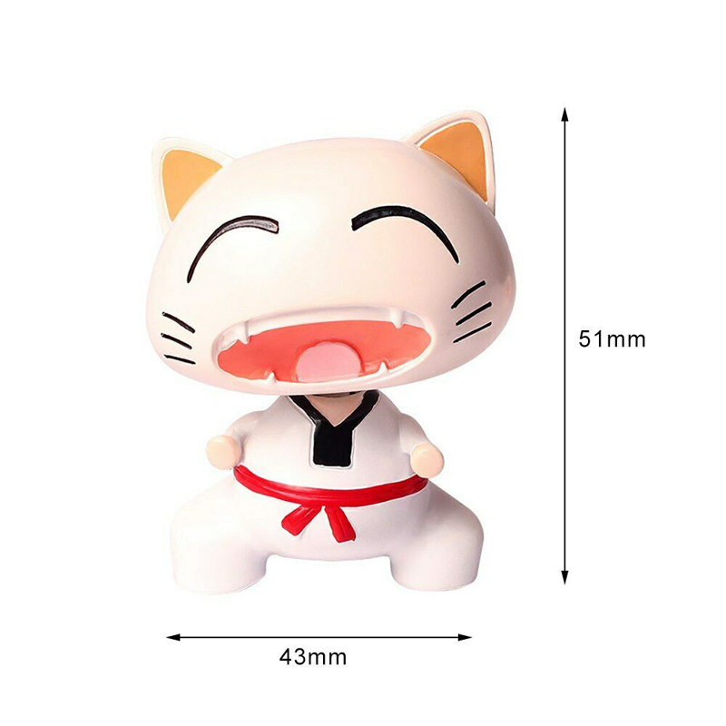 Image 3 - Cute Taekwondo Cat Shaking Head Car Ornaments Lovely Decoration Automobiles Interior Dashboard Nodding Toys Doll Car Accessories-in Ornaments from Automobiles & Motorcycles